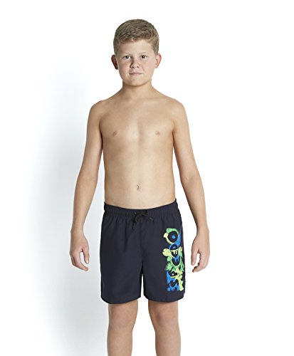 Speedo Jungen Beach Punch Graphic Leisure 15 Zoll Watershorts, Speedo Navy/Neon Blue/Apple Green/Fluo Green, 140 (Navy Blue Boys Shorts)