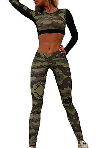 Damen für Yoga Fitness Casual Leggings Jogginghose Trainingsanzug Fashion Rundhals Langarm Crop Top + Skinny Lange Sport Pants Camouflage Spleißen Sportswear Sporthose 2 Stück Set -