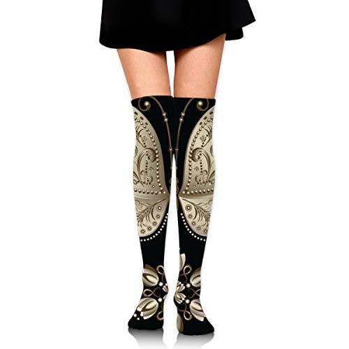 rouxf Knielange Socken Gold Vintage Schmetterling Über Kalb Kniestrümpfe Wintermode Kleid Socke 65 cm Länge -