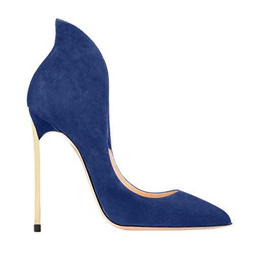 EKS Damen Atumab Warp Ankle Gold High Heels Designer Schuhe Pointed-toe Pumps EU 35-46 Blau-Faux Wildleder