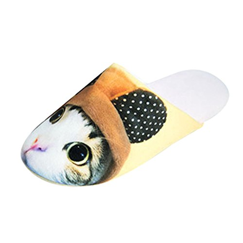 Damen Herren Tier Kuschelige Hund Katze Slippers Winter Plüsch Hausschuhe Weicher Warm Pantoffeln Katze Braun