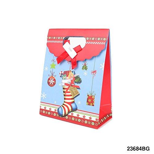 Geschenktüte mit Weihnachts-Strumpf, Geschenk und Nistelzweig 090-00009