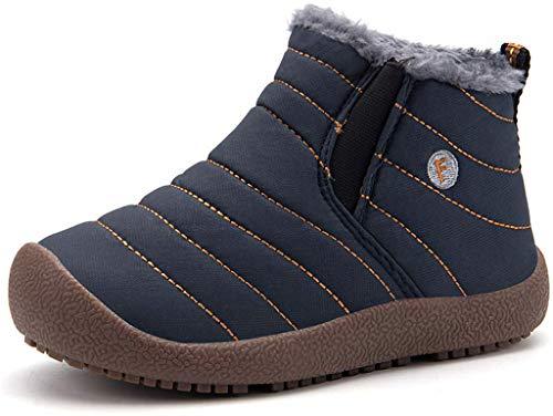 Kinder Winterschuhe Jungen Mädchen Schneestiefel Wasserdicht Warm gefütterte Schlupfstiefel Winter Stiefel Sneaker Schuhe Blau 28 EU = 28 CN