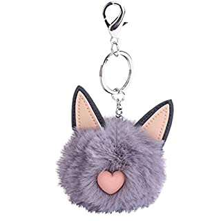 ALCYONEUS Nette Katze Kunstpelz Flauschigen Ball Schlüsselanhänger Tasche Mädchen Anhänger hängenden Schlüsselring Geschenk (Grau)