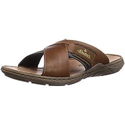 Rieker 22099 - zuecos de cuero hombre, color marrón, talla 43