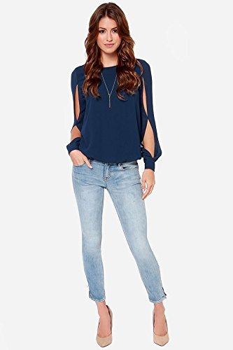 Minetom Femme Chemise OL Elégante en Mousseline à Manches longues Shirt Tops Blouse Hauts One Color