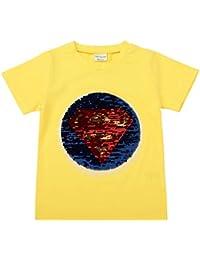 b7b134589a Niño niña Verano niños Desgaste Lentejuelas de Manga Corta Cuello Redondo  de algodón Casual Camiseta Top