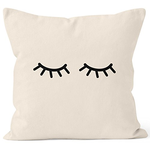 Kissenbezug Schlafende Augen Wimpern Eye Lashes Müde Schlafen Mascara Kissen-Hülle Deko-Kissen Baumwolle MoonWorks® natur 40cm x 40cm
