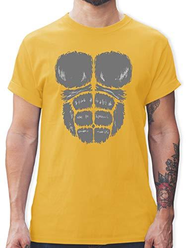 Karneval & Fasching - Gorilla Kostüm Fasching - M - Gelb - L190 - Herren T-Shirt und Männer Tshirt (Gelbe Gorilla Kostüm)