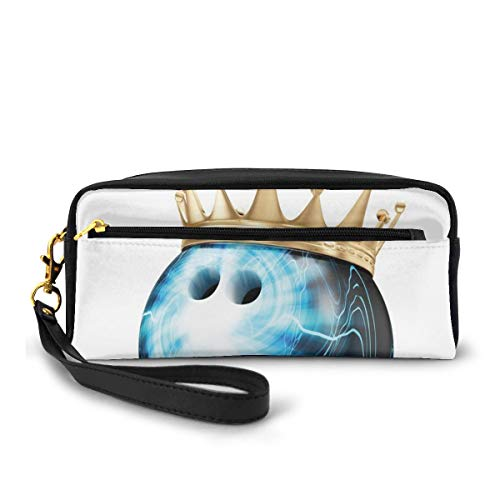 Pencil Case Pen Bag Pouch Stationary,Crown On Artistic Ball Bowling King Champion Victory,Small Makeup Bag Coin Purse