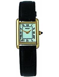 Bernex Swiss Made Ladiess Rectangular Gold Plate, White Dial, Mechanical Wrist Watch leather strap