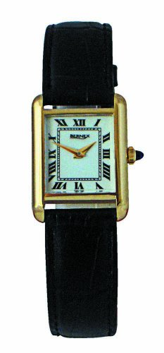 Bernex Swiss Made Ladiess Rectangular Gold Plate, White Dial, Mechanical Wrist Watch leather strap