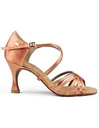 PortDance Mujeres Zapatos de Baile Latino PD631 Basic - Bronze Dark Satén - 6 cm Flare