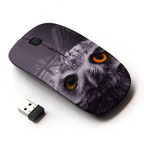 [Peculiar-Star] Colorato stampato ultrasottile ottico senza fili 2.4Ghz mouse-Black [Cicogna di volo dell'uccello tramonto] - Button Uccello