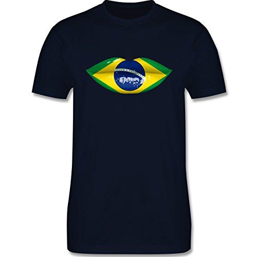 Länder - Lippen Bodypaint Brasilien - Herren Premium T-Shirt Navy Blau