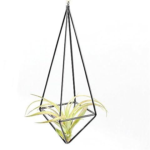 Rustic Style Freestanding Hanging Metal Tillandsia Air Plant Rack Holder Black 26cm Height Quadrilateral Pyramid Shape Geometric - Hanging Flower Vase