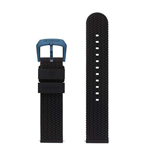 DETOMASO Uhrenarmband Silikon-Armband 20mm 22mm 24mm mit Schnellwechsel Federsteg und Dornschließe (20mm, schwarz - dunkel Blaue Schließe)