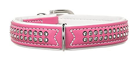 Hunter Modern Art Deluxe Nickel Faux Leather Collar, 34/40 cm, Pink/White