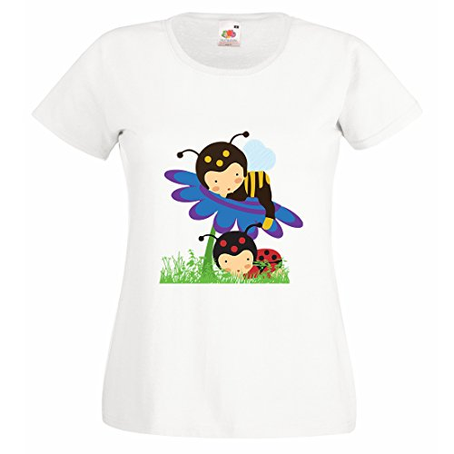 Printmeashirt Damen T-Shirt Gr. Small, Weiß (Bumble Bee Outfit Für Baby)