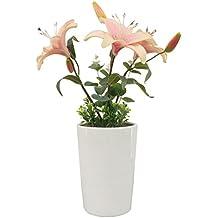 Lifeeasy in vaso artificiale LED piante da fiore luce della lampada - Bianco Fiore Bianco POT di ceramica a batteria