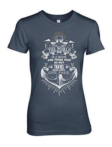 The World Is A Book Motivation Text Anchor Artwork Damen T-Shirt Blau