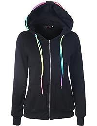 Donna Felpe Pullover con Cappuccio Cerniera Taglie Forti Elegante Sportiva Sweatshirt  Hoody Manica Lunga Tasca Frontale 41f0a260af7
