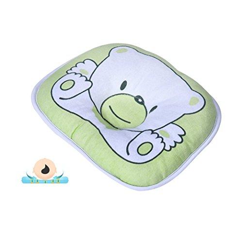 Ndb 2576 - [verde] cuscino testa per neonati - imbottito - chiusura con cuciture - lavabile - per dormire o per il cambio - plagiocefalia testa piatta storta (verde)