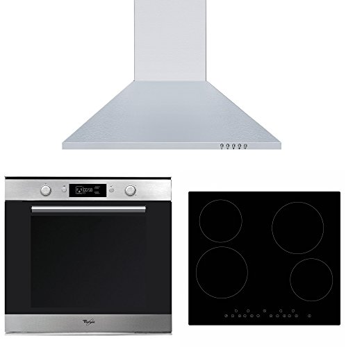 Whirlpool AKZM778IX High Spec Single Electric Built-in Oven, Cookology Ceramic Hob & Stainless Steel 60cm Chimney Cooker Hood Pack