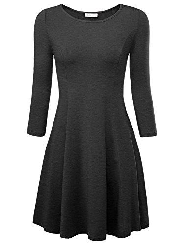 BaiShengGT Damen Skaterkleid Rundhals 3/4-Arm Fattern Stretch Basic Kleider Dunkelgrau M