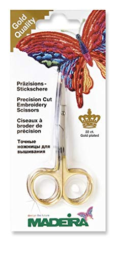 Madeira Stickschere vergoldet (2-fach gebogen, 10 cm lang)
