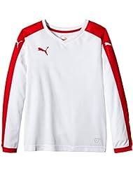 PUMA T-Shirt Pitch Long Sleeve - Camiseta, color blanco (white/puma red), talla de: 140