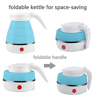 Bouilloire portative pliable bleue de l'eau de silicone de catégorie comestible de bouilloire de voyage de 0.5L, stockage facile et commode 110-240V