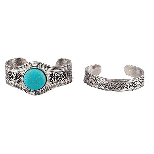 lux-zubehor-antik-silvertone-turkis-armband-set-2pc