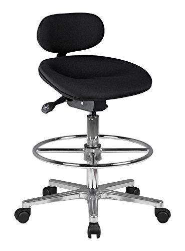Amstyle Design Arbeitshocker Louis, Profi Arbeitsstuhl höhenverstellbar mit Rollen Stoff schwarz, Drehstuhl mit Ringfußstütze 60-85 cm hoch, Stehhilfe ohne Armlehnen