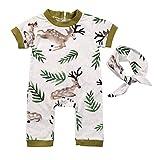puseky 2 stücke Säuglingskleinkind Sommer Deer Kleidung Baby Kurzarm Strampler + Handband Outfits Set (Color : Green, Size : 12M-18M)