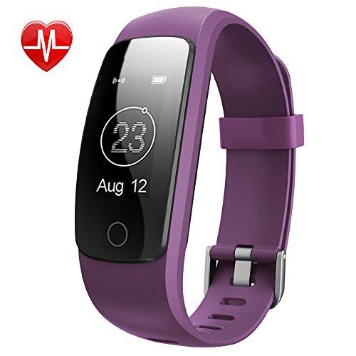 Yamay Fitness Tracker mit Pulsmesser Herzfrequenz Fitnessuhr Aktivitätstracker Fitness Armband uhr Pulsuhren Wasserdicht IP67 Bluetooth Schrittzähler mit Stoppuhr für Android und iOS Smartphones
