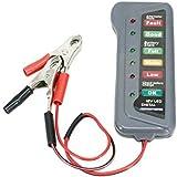 جهاز فحص البطارية الرقمي للسيارة 12 فولت اختبار المولد 6 أضواء عرض ليد للسيارات والدراجات النارية