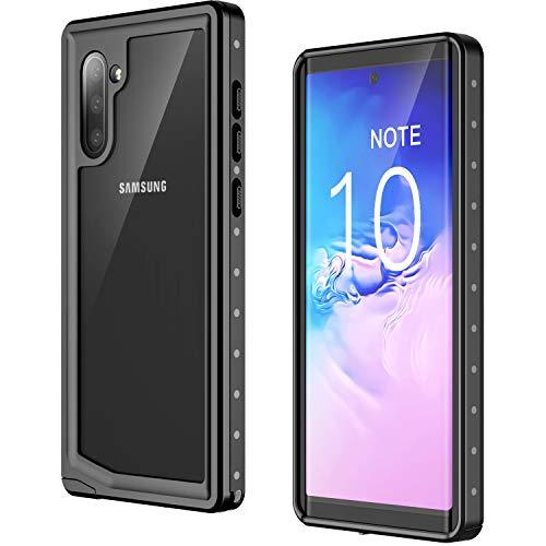 Temdan Samsung Galaxy Note 10 Hülle, Galaxy Note 10 5G Hülle, IP68 Wasserdicht Transparent 360 Grad Hülle mit Eingebautem Bildschirmschutz Handyhülle für Samsung Galaxy Note 10/ Note 10 5G Schwarz