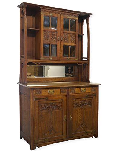 Antike Fundgrube Buffet Buffetschrank Aufsatzschrank Jugendstil um 1900 aus Eiche massiv (8987)