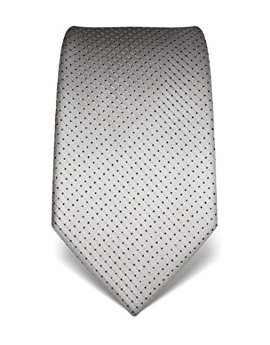 Extra Lange Wolle Anzug (Vincenzo Boretti Herren Krawatte reine Seide gepunktet edel Männer-Design zum Hemd mit Anzug für Business Hochzeit 8 cm schmal/breit silber)