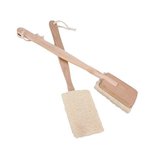 Pixnor de bain corps brosse de douche Spa Naturel - Brosse à dos à long manche Loofah - Lot de 2