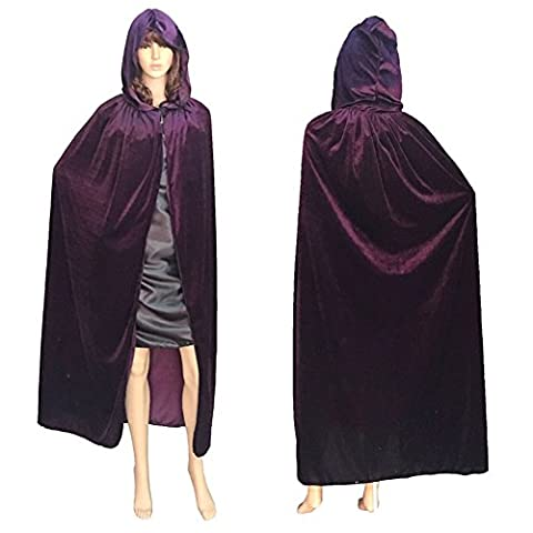 ALCYONEUS Adult Halloween Cloak Hooded Floor-length Cape Party Witch Robe Cosplay Costume - Purple