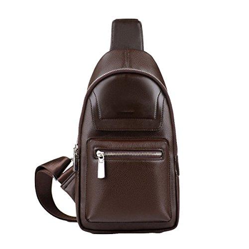 Männer Brusttasche Freizeittasche Reißverschluss Dunklen Taschen Outdoor Mode Sport Messenger Bag Brown