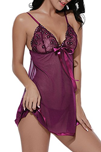 BMAKA Conjunto Lenceria Picante Ropa Intima Backless Camisón Diseño de Pecho Bowknot Bordado y Lentejuelas para Mujer