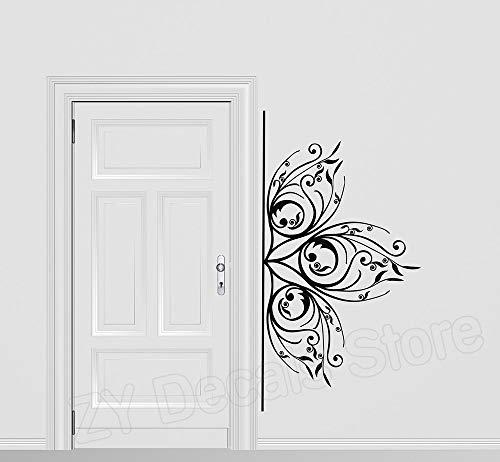 Schöne Delicate Floral Ornament Wandaufkleber Wohnkultur Wohnzimmer Schlafsofa Hintergrund Vinyl Aufkleber Blume Schlafzimmer 80 * 42 cm -