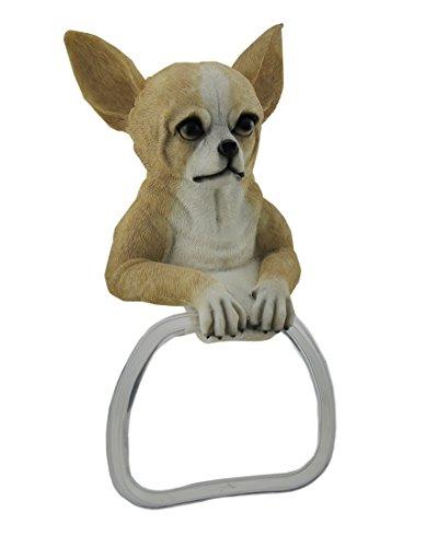 Zeckos Kunstharz Handtuch Ringe Chihuahua Hund Aufhängen Handtuchhalter 15,2x 26,7x 7,6cm Creme -