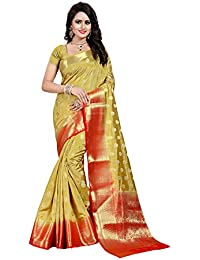 Nirja Creation Women's Mehendi Color Cotton silk Heavy Banarasi Saree