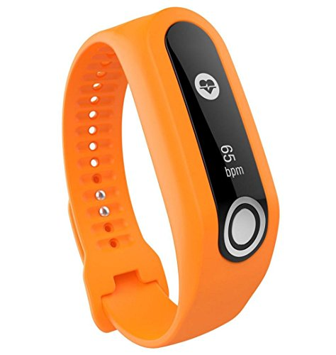 ZEZKT-Uhrenarmband ┇ Sport Silikon Armband Uhrarmband Band für Tomtom Cardio Activity Tracker (Orange)