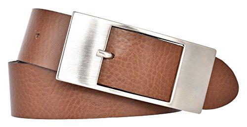 Mytem-Gear Damen Leder Gürtel 35 mm Nappaleder Damengürtel (110 cm, cognac) (Nappa-leder Braun)