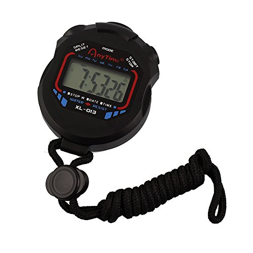 Jooks Digital Professional Handheld LCD Chronograph Sports Stopwatch Timer Stop Watch Clock with Alarm Feature for Swimming Running Football